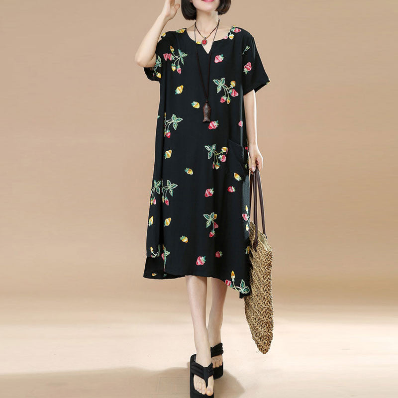Embroidered Women Loose Ethnic Summer Cotton Linen Black Dress - Buykud