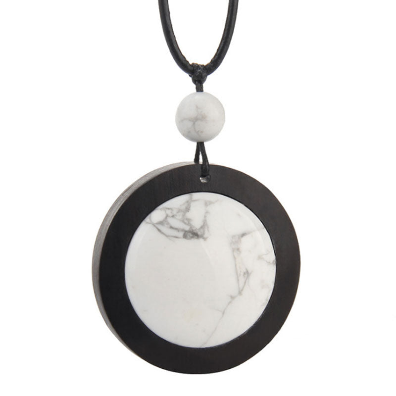 Ethnic Black Ebony Turquoise Round Pendant Necklace - Buykud