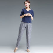 Ankle Length Blue Stripe Literature Cotton Linen Women Pants - Buykud
