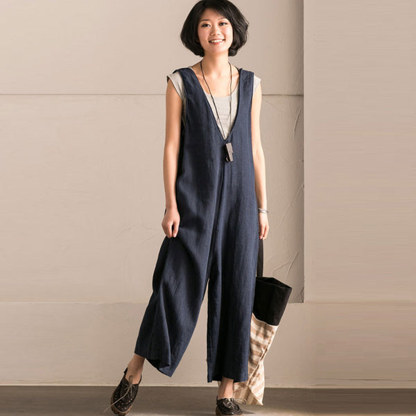 Women Solid Casual Loose Strap Wide Leg Blue Pants - Buykud