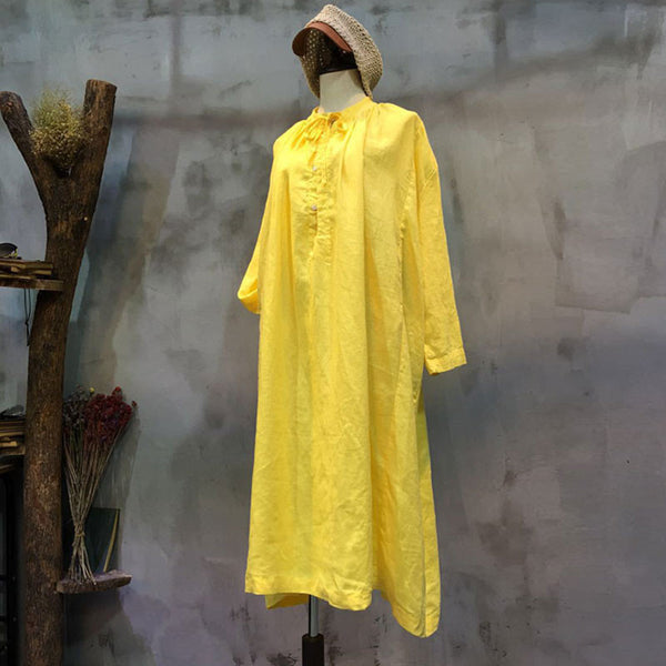 Spring Lacing Loose Casual Yellow Dress