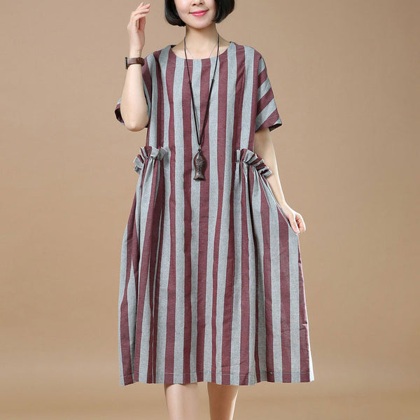 Women Summer Round Neck Casual Red Stripe Dress - Buykud
