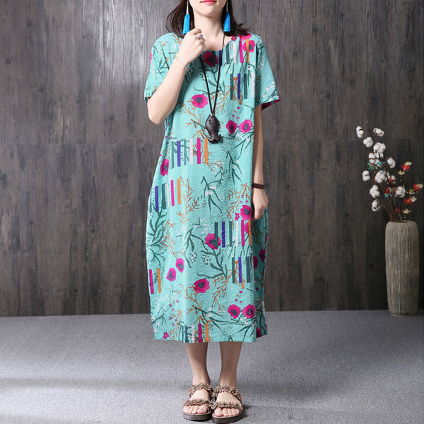 Ethnic Floral Printing Women Blue Dress