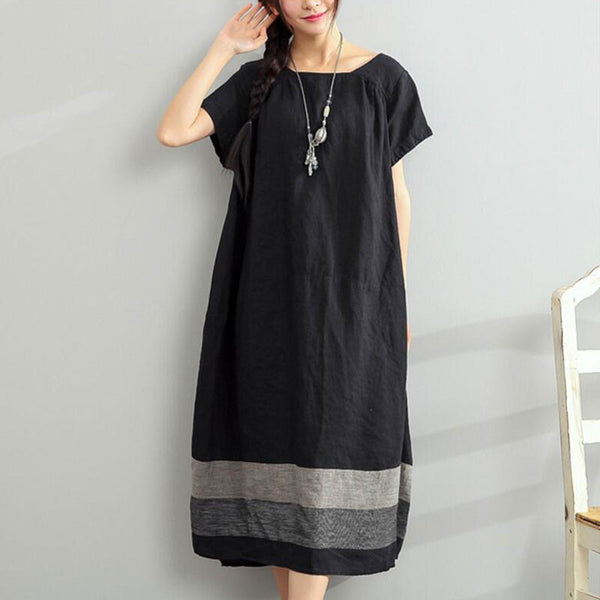 Short Sleeves Loose Stripe Linen Black Dress