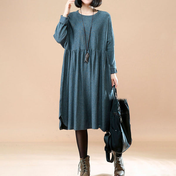 Simple Loose Casual Long Sleeve Gray Dress For Women - Buykud