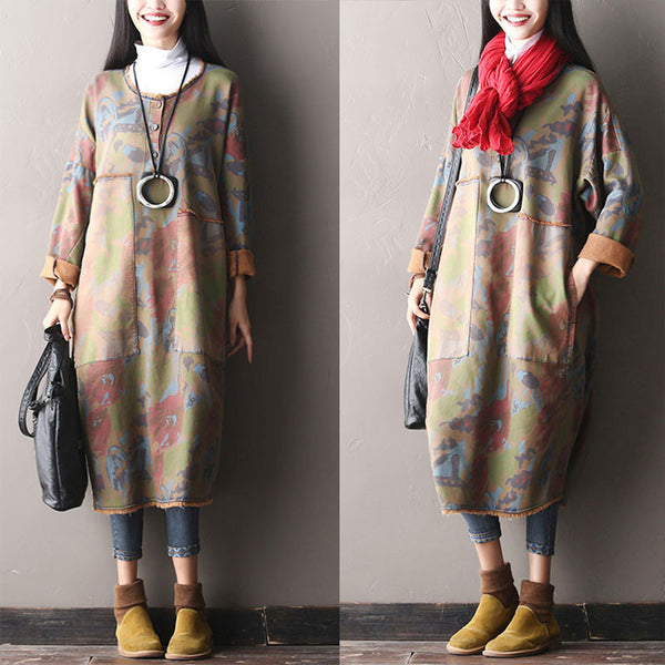 Green Loose Hooded Dress