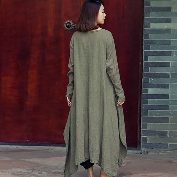 Spring Linen Distressed Loose Light Coffee Dress - Buykud