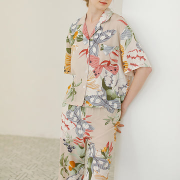 Printed Single Breasted Women Summer Sleepwear