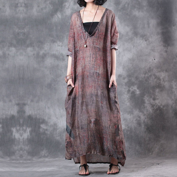 Retro V Neck Linen Summer Women Red Maxi Dress