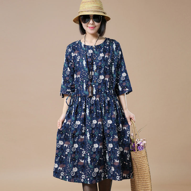 Round Neck Printing Spring Navy Blue Dress