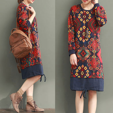 Ethnic Style Splicing Printing Red Dress - Buykud