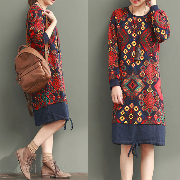 Ethnic Style Splicing Printing Red Dress
