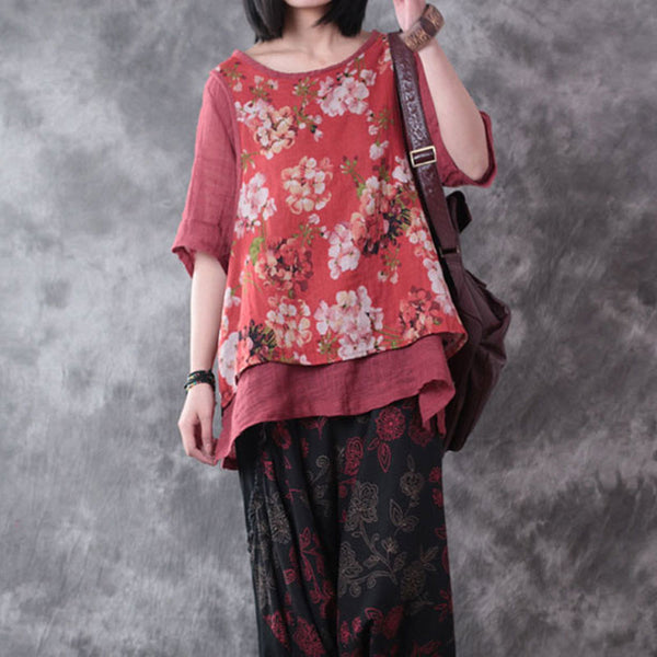 Printing Floral Loose Linen Red Shirts