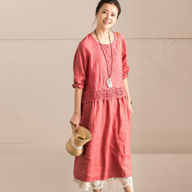 Hollow Loose Women Casual Cotton Splicing Pink Dress - Buykud