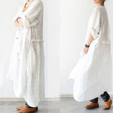 Long Sleeve Linen Flouncing Dress - Buykud