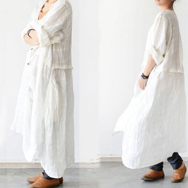 Long Sleeve Linen Flouncing Dress