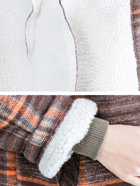 Hooded Plaid Woolen Jacket