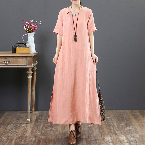 Summer Embroidery Ethnic Round Neck Short Sleeve Pink Dress - Buykud