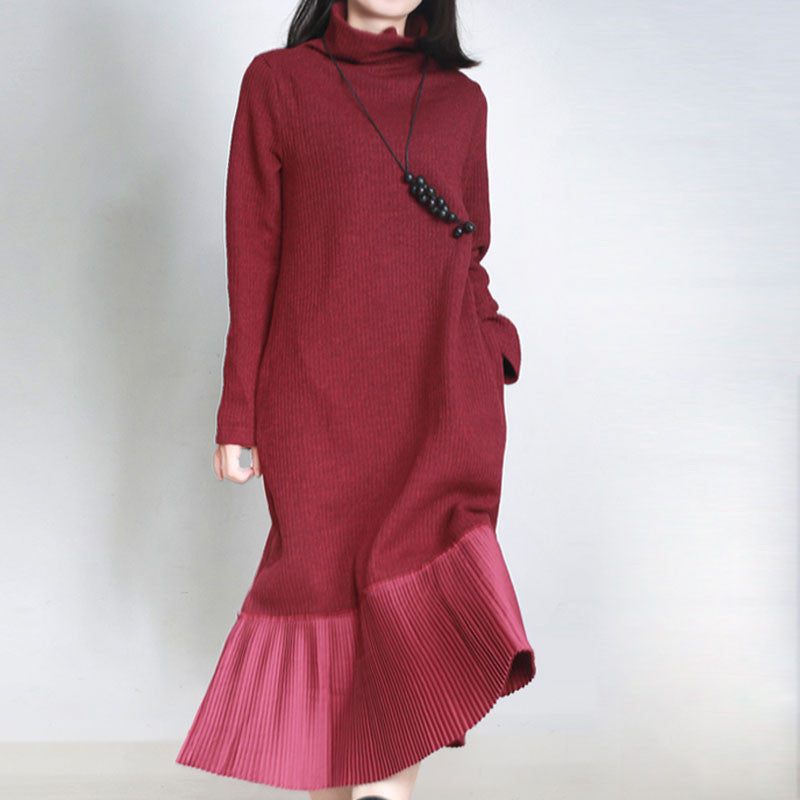 Wine Red Stitching Cotton Dress - Buykud