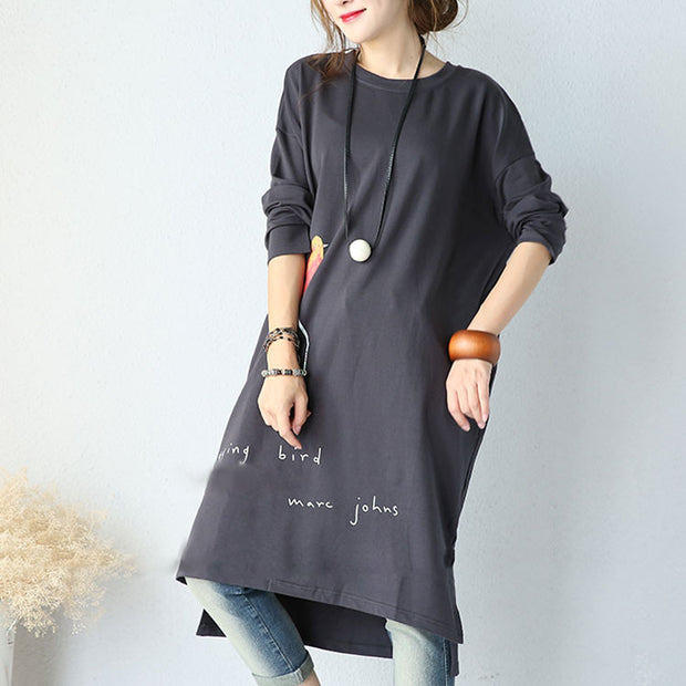Autumn Casual Loose Cotton Round Neck Blouse - Buykud