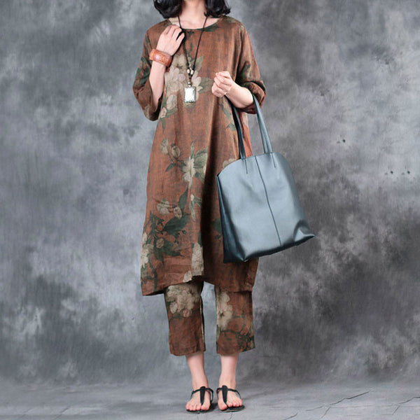 Printing Round Neck Women Loose Casual Dress