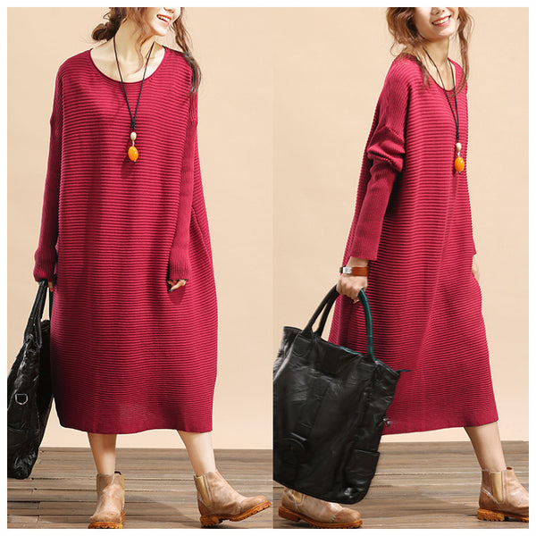 Women plus size loose fitting winter knitting sweater dress - Tkdress  - 1