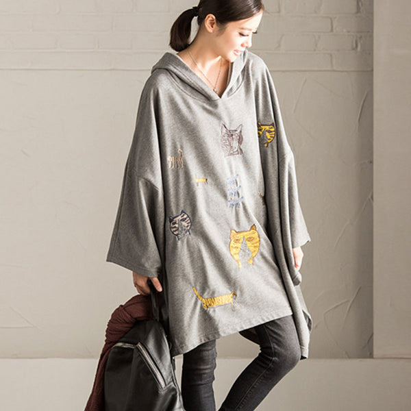 Loose Hooded Embroidered Sweater