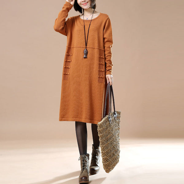Women Literature Long Sleeve Frogs Loose Sweater Dress - Buykud
