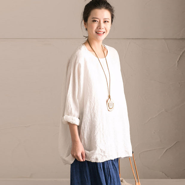 Linen Bat Sleeve Round Neck Loose White Shirt - Buykud