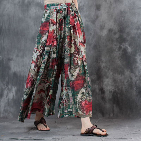 Women Chiffon Summer Printed Pleated Wide Leg Pants