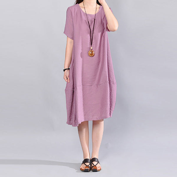 Cotton Short Sleeves Women Loose Summer Splicing Casual Pink Dress - Buykud