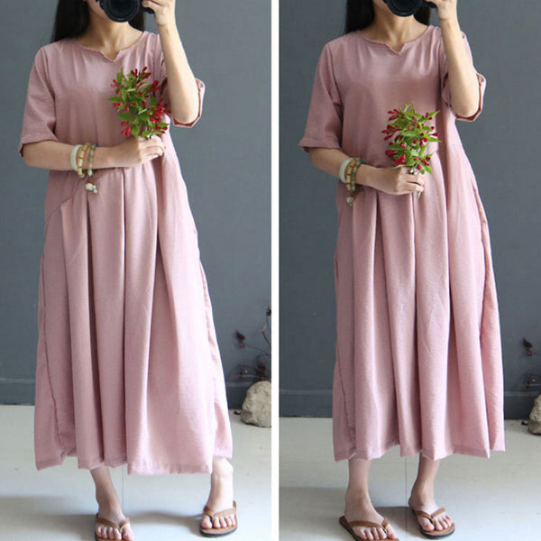 Loose Short Sleeves Women Linen Dress
