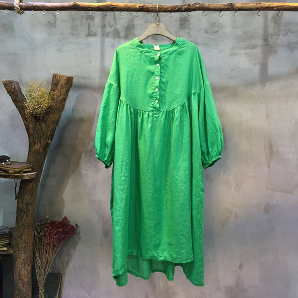 Spring Linen Round Neck Loose Green Dress