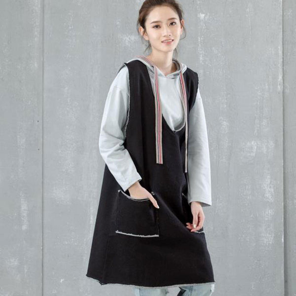 Women Casual Loose V Neck Black Vest - Buykud