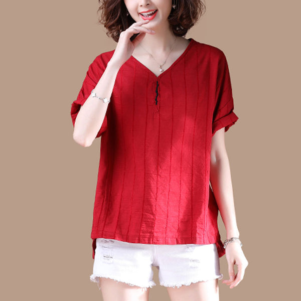 V Neck Short Sleeve Stripe Summer Red T Shirt