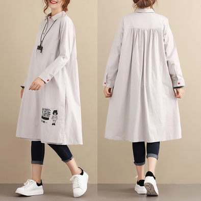 Casual Loose Cotton Long Sleeves Pleated Gray Dress - Buykud