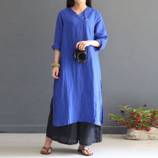 Women Loose Casual Spring Retro Frog Linen Splitting Blue Dress