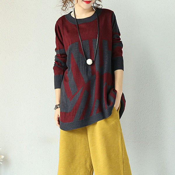 Wine Red Wool Irregular Sweaters