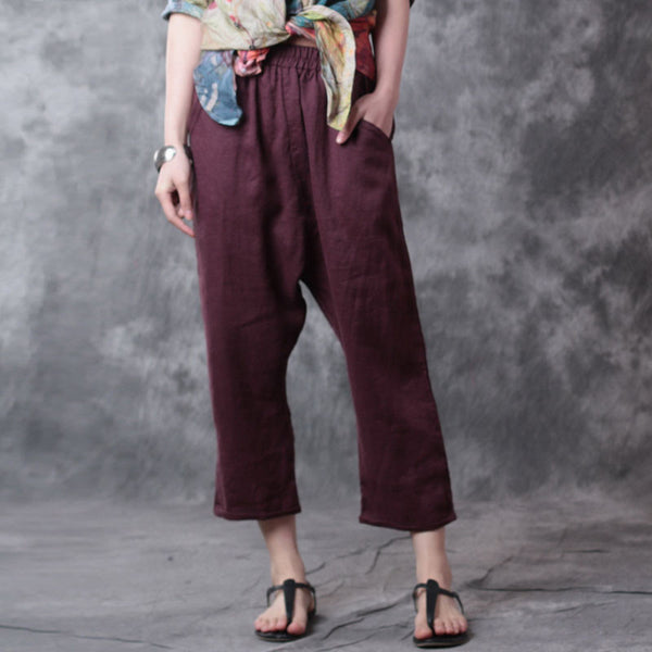 Loose Women Casual Linen Pocket Red Harem Pants - Buykud
