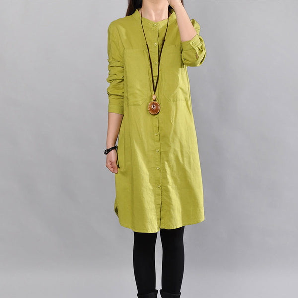 Cotton Loose Women Straight Pocket Yellow Dress - Buykud