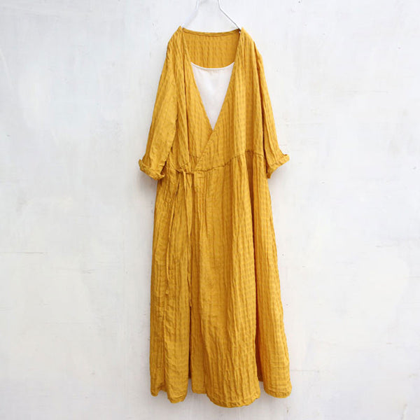 Stripe V Neck Splicing Straps Long Sleeves Pleated Women Yellow Dress