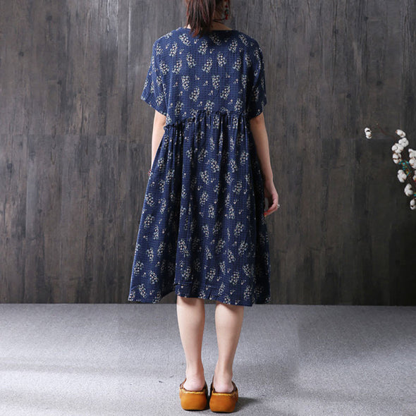 Summer Women Chic Printing Loose Short Sleeve Navy Blue Dress - Buykud