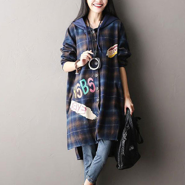 Plaid Blue Hooded Woolen Jacket