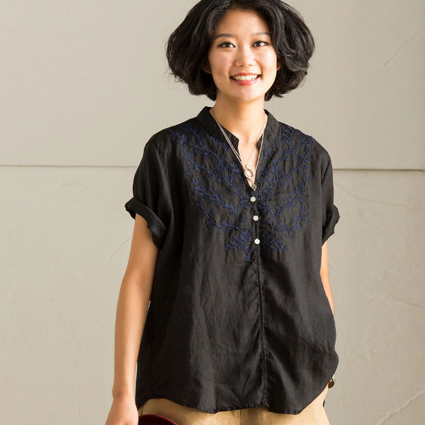 Chic Embroidery Literature Short Sleeves Loose Women Black Shirt - Buykud