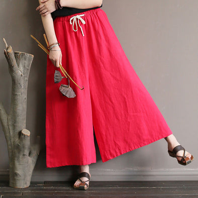 Women Ramie Trousers Lacing Red Wide Leg Pants
