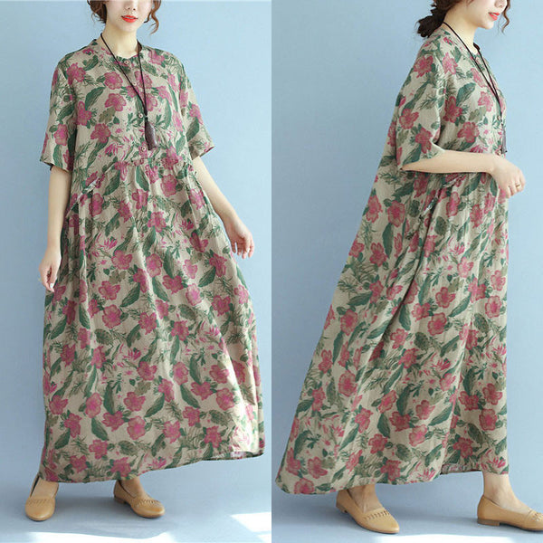 Retro Floral Printing Loose Summer Women Linen Splicing Dress - Buykud