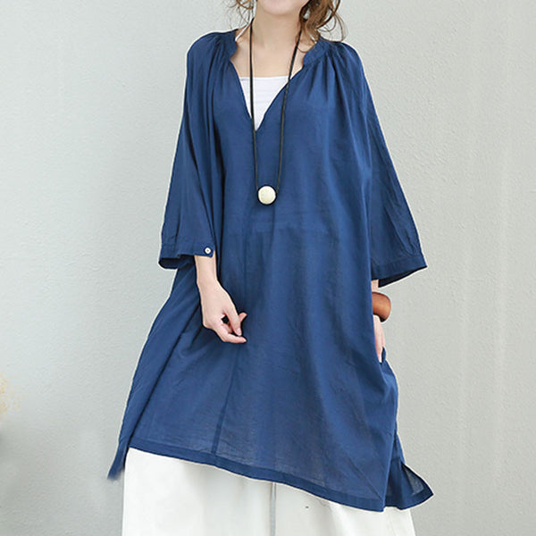 Cotton Women Loose Casual Summer Folded Blue Shirt