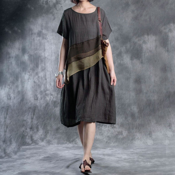 Women Short Sleeve Round Neck Splicing Casual Loose Dress - Buykud