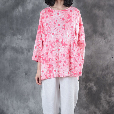 Stylish Linen Printing Three Quarter Sleeves Women Pink Shirt - Buykud