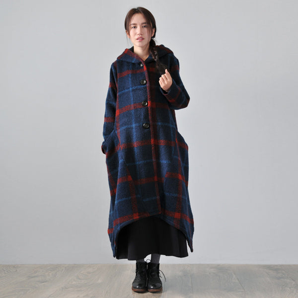 Women Winter Hooded Wool Long Coat